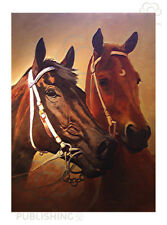 Black Cavier & Phar Lap greeting card by Peter Hill