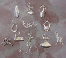 VINTAGE LOT 12 ENGLISH STERLING SILVER BRACELET CHARMS MIXED THEME 3-D