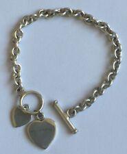 "Solid 925 Sterling Silver Woman's Double Heart T-Bar Bracelet 20.6 Grams 7.5"""