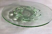 Art Déco Kuchenplatte rund groß grün Pressglas Schale Kuchenteller