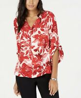 Alfani Womens Blouse Red Size X Small Button Down Floral Print V Neck $75