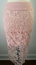 Crochet Long Lace Boho Fitted Skirt Pale Blush Pink Victorian Shaby Chic Sz S/M