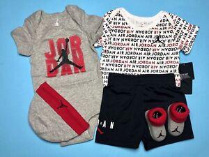 AIR JORDAN BABY BOYS 5-pc GIFT Set: Bodysuits/Rompers,Short,Cap & Booties 6-12M.