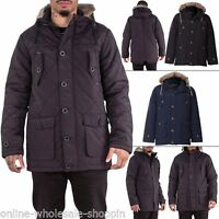 Brave Soul Mens Coat Faux Fur Hood Quilted Parka Warm Jacket Winter Long Sleeve