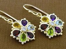 E036 Colorful 9ct Rose Gold NATURAL Multi-Gem & Diamond DAISY EARRINGS Blossom