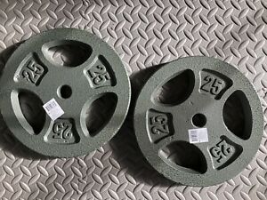 "2 NEW 25LB CAP Weight Plates Standard 1"" (50lbs total) FREE EXPEDITED SHIPPING!!"