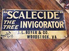 Vintage Metal Embossed Hardware Ad Sign SCALECIDE J L Boyer & Co. Woodstock, VA