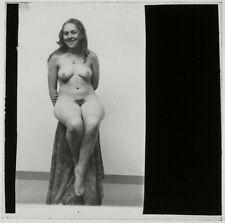 Original 1920s female nude, sitting, glass positive, artistic!