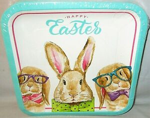 """EASTER LUNCHEON Paper Plates 50 Ct.  9 1/8"""" Dia. BUNNY GLASSES"""