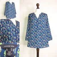 Lands End Blue Blouse Top Arty Relaxed Vintage People Print Lagenlook 16 |L32|