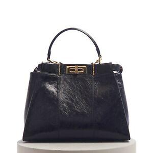FENDI 5100$ Iconic Medium Peekaboo Bag In Black Vintage-Effect Leather