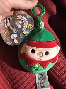 """Squishmallows 3.5"""" Christmas Holiday Elliott The Elf Plush Toy Ornament Clip On"""