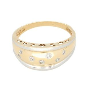 9Carat Yellow & White Gold 0.10ct Diamond Graduated Band (Size R) 6mm Widest