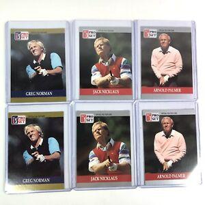 1990 Pro Set Pack Fresh #93 Jack Nicklaus, #50 Greg Norman, #80 Arnold Palmer
