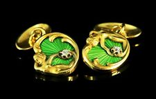 Antique Russian Gold, Diamonds and guilloché enamel Cufflinks, Moscow 1908-1917