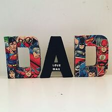 Dad Letters Batman Superman Personalised 4 Inch Letters Birthday Gift Christmas