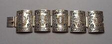Old Peruvian Sterling Wide Curved Link Bracelet - Inca Sky Deity & Tumi - 65.7g