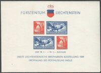 Liechtenstein 1936 S/Sheet Mi 2, MLH OG