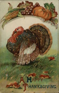 Turkey A Happy Thanksgiving Antique Postcard Vintage Post Card