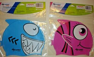 Wave Sports Child's Character Swim Cap -Blue or Pink