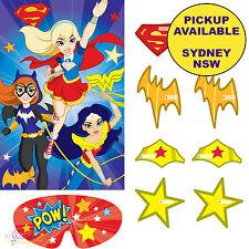 SUPER HERO GIRLS PARTY SUPPLIES PIN THE BADGE SUPERHERO BIRTHDAY GAME BANNER