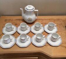 Haviland Limoges Blue Yellow Trim Coffee Set For 8 China Demi Tasse Espresso EUC
