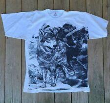 Vintage Wolf Deer Buck Wildlife Shirt 90s Single Stitch Black White XL AAA