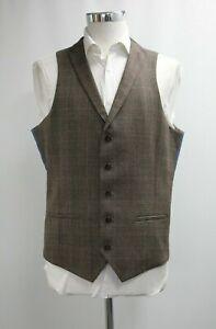 Men's Sleek Street Checked Brown Waistcoat (42L).. Ref: 7305