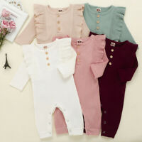Newborn Infant Baby Boys Girls Solid Button Ruffles Romper Jumpsuit Playsuit