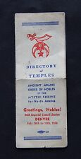 Vintage Freemason Shriner Directory of Temples for North America Noble Fritts