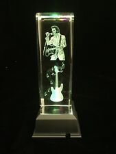 Elvis Presley - Large 3D Laser Etched Crystal Block With 4 Lights LED Light base