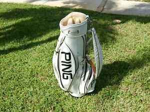 VINTAGE WHITE PING CART BAG IN VG CONDITION LOOK COLLECTIBLE RARE