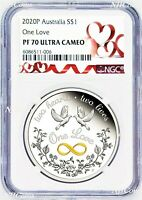 2020 One Love 1oz .9999 Silver $1 Proof Coin NGC PF70 UC Tuvalu HEART LABEL