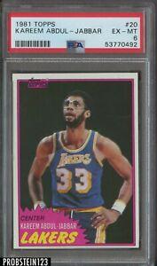 1981 Topps Basketball #20 Kareem Abdul-Jabbar Los Angeles Lakers HOF PSA 6 EX-MT