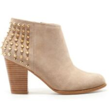 Zara Gold Studded Suede Leather Ankle Boots Tan 41 10