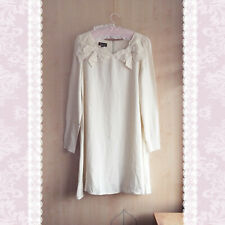 TOPSHOP MINI DRESS SIZE 12 WHITE CREAM SHIFT TUNIC BOW RUCHED LONG SLEEVE PARTY