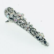 Flower Hair Claw Clip Clamp Alligator Pelican Beak Rhinestone Crystal Silver