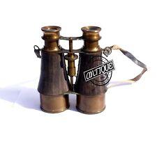 Halloween Vintage Military Brass Binocular Leather Wrap And Belt Antique Maritim