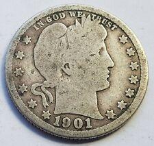 More details for usa 1901 mint barber quarter silver dollar coin