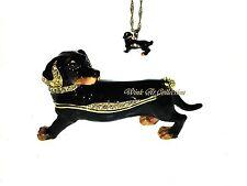 Black Dachshund Looking Back Dog Bejeweled Trinket Box