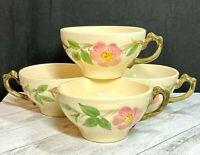 "Vintage Franciscan Set of 4 DESERT ROSE  2 1/4""  Flat Coffee Cups - Made in USA"