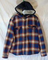 Boys F&F Blue Red Check Furry Fleece Lined Hooded Shacket Jacket Age 8-9 Years