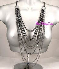 Deco Chic XL Hematite Grey Multi-Strand Tiered Ball Bead Chains Catwalk Necklace