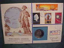 1970 HUTT COMM. WESTERN SAMOA 12 OF 75 UNCIRCULATED PROOF COOK R12 STAMP & COIN