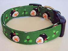 Charming Green w/ Jolly Christmas Snowman Dog Collar Large