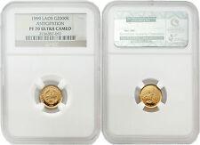 Laos 1999 Anticipation 2000 Kip 1/25 oz Gold NGC PF70 ULTRA CAMEO