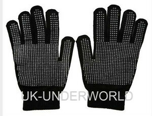 Childrens Kids Boys Girls Plain Black Magic Rubber Gripper Winter Warm Gloves