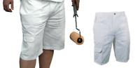ProDec PAINTERS Work Wear SHORTS Decorators Cargo White 100% Cotton Drill