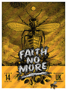 FAITH NO MORE silkscreened poster Glasgow 2015 by Bobby Dixon