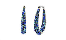 Women's 18kt White Gold Inside Out Blue Hoop Earrings